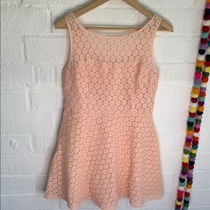 Betsey Johnson Blush Pink Eyelet Mini Dress sz 6